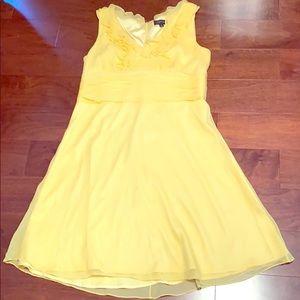 Yellow silk sleeveless dress size 14